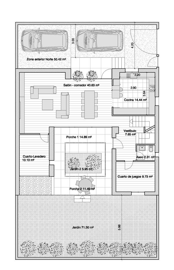 Escaleras de acceso a estudio, dos dormitorios dobles con vestidor ...